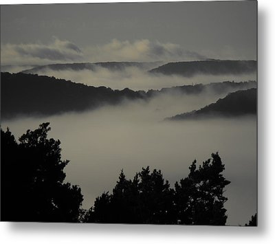 Winter Fog Mountains Metal Print by Rebecca Cearley