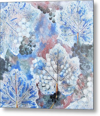 Metal Print featuring the painting Winter Grapes I by Karen Fleschler
