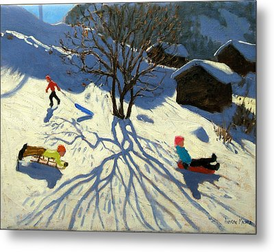 Winter Hillside Morzine France Metal Print by Andrew Macara