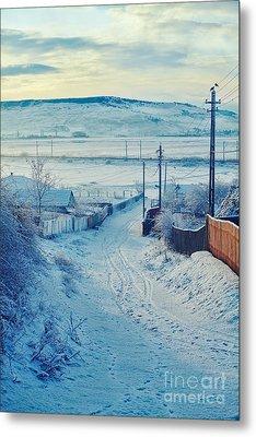 Winter In Romanian Countryside Metal Print by Gabriela Insuratelu