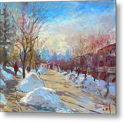 Winter In Silverado Dr Mississauga On Metal Print by Ylli Haruni