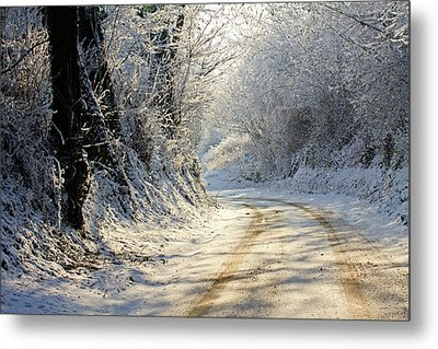 Winter In Small Countryside Road Metal Print by © Frédéric Collin