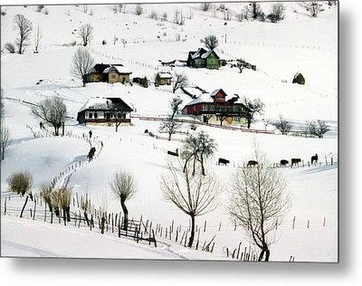 Winter In The Village Metal Print by Emanuel Tanjala
