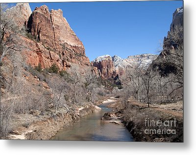 Winter In Zion Metal Print by Bob and Nancy Kendrick