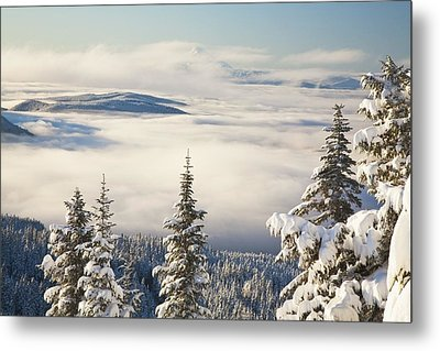 Winter Landscape With Clouds And Metal Print by Craig Tuttle