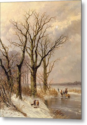 Winter Landscape With Faggot Gatherers Conversing On A Frozen Lake Metal Print by Josephus Gerardus Hans