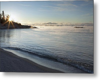 Winter Mist On Lake Superior At Sunrise Metal Print by Susan Dykstra