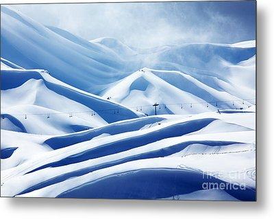Winter Mountain Ski Resort Metal Print by Anna Om