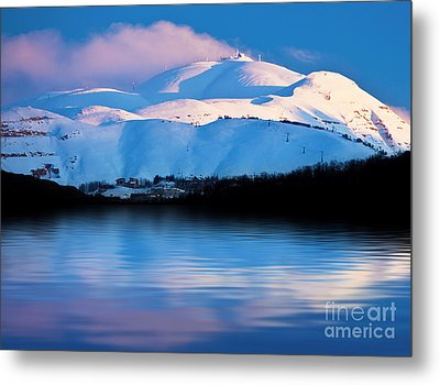 Winter Mountains And Lake Snowy Landscape Metal Print by Anna Om