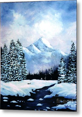Winter Mountains Metal Print by Phyllis Kaltenbach