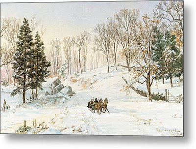 Winter On Ravensdale Road Metal Print by Jasper Francis Cropsey
