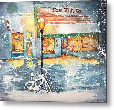 Winter On Whiskey Row Prescott Arizona Metal Print by Sharon Mick