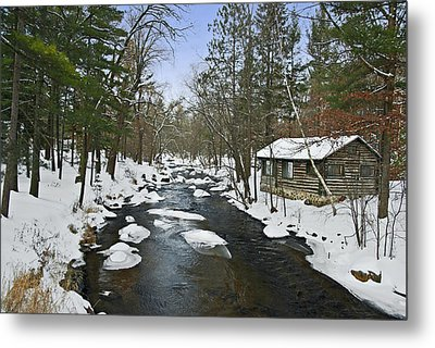 Metal Print featuring the photograph Winter Saxeville Log Cabin by Judy  Johnson