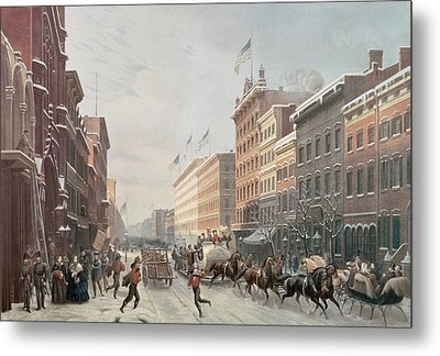 Winter Scene On Broadway Metal Print by American School