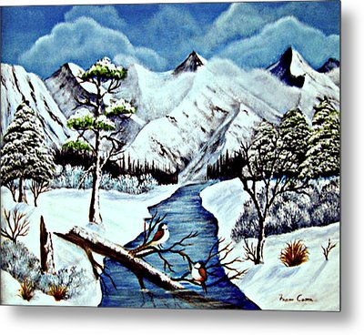 Metal Print featuring the painting Winter Serenity by Fram Cama