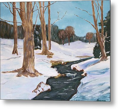 Metal Print featuring the painting Winter Solitude by Cynthia Morgan