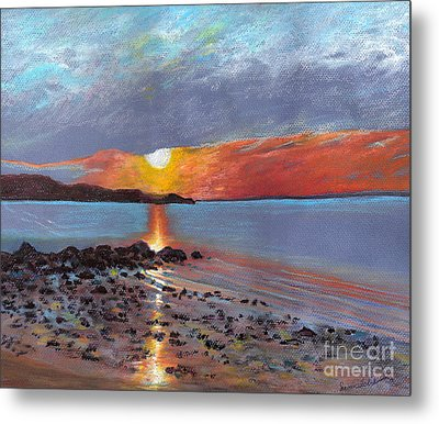 Winter Sunset Centre Island Beach Metal Print