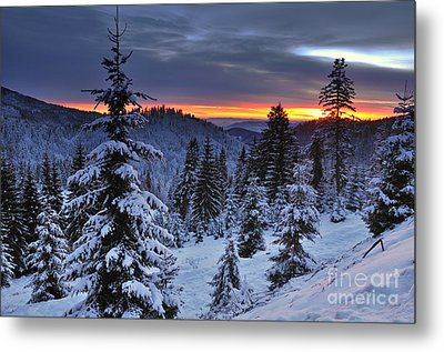 Winter Sunset Metal Print by Ionut Hrenciuc