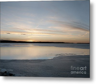 Winter Sunset Over Lake Metal Print by Art Whitton
