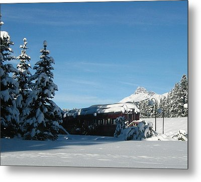 Winter Train Metal Print