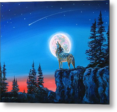 Winter Wolf Moon Metal Print