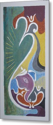 Metal Print featuring the painting Wisdom And Peace by Sonali Gangane