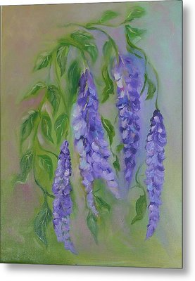 Metal Print featuring the painting Wisteria by Carol Berning