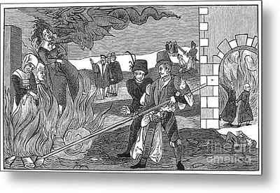Witch Burning, 1555 Metal Print by Granger