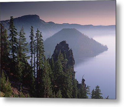 Wizard Island In The Center Of Crater Metal Print by Tim Fitzharris