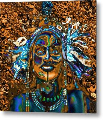 Wodaabe Blue Metal Print
