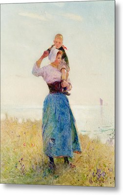 Woman And Child In A Meadow Metal Print by Hector Caffieri