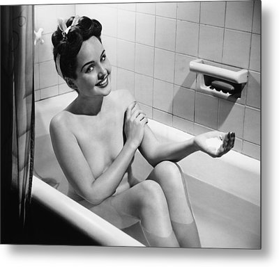 Woman Bathing, (b&w), Portrait Metal Print by George Marks