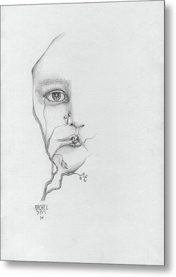 Woman Face Growing Out Of A Tree Branch Black And White Surrealistic Fantasy  Metal Print by Rachel Hershkovitz