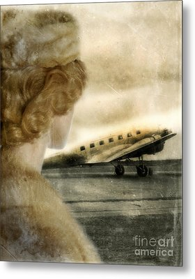 Woman In Fur By A Vintage Airplane Metal Print by Jill Battaglia