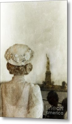 Woman In Hat Viewing The Statue Of Liberty  Metal Print by Jill Battaglia