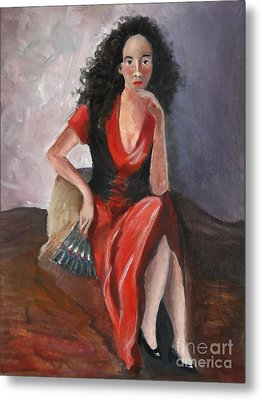 Woman In Red - Inspired By Pino Metal Print by Kostas Koutsoukanidis