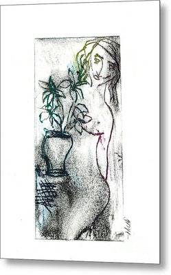 Woman In Waiting Metal Print by Lillian Michi Adams