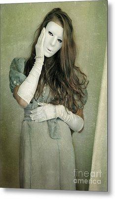Woman In White Mask Wearing 1930s Dress Metal Print by Jill Battaglia