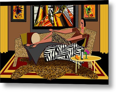 Woman On A Chaise Lounge Metal Print