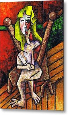 Woman On Wooden Chair Metal Print by Kamil Swiatek
