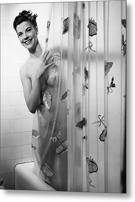 Woman Peering Through Shower Curtain, (b&w), Portrait Metal Print by George Marks
