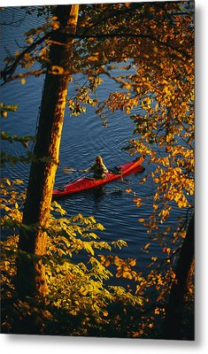 Woman Seakayaking On The Potomac River Metal Print by Skip Brown