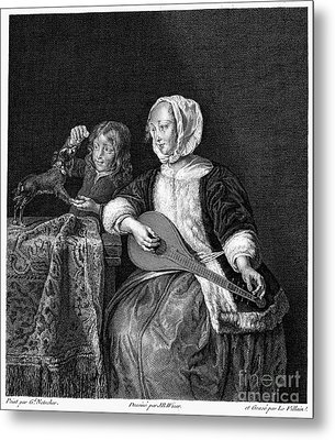 Woman Tuning A Lute Metal Print by Granger