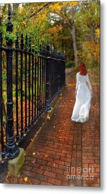 Woman Walking In Long White Gown Metal Print by Jill Battaglia