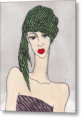 Woman Wearing A Turban Metal Print by Dorrie Ratzlaff