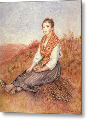 Woman With A Bundle Of Firewood Metal Print