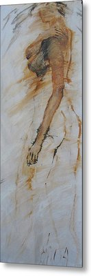 Woman With Hand On Shoulder Metal Print by Elizabeth Parashis
