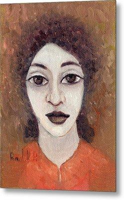 Woman With Large Dark Brown Eyes And Hair Orange Shirt Dark Eyebrows  Metal Print by Rachel Hershkovitz
