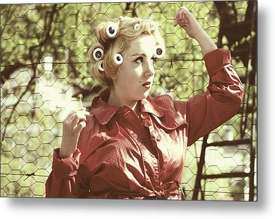 Woman With Rain Coat And Curlers Metal Print by Joana Kruse