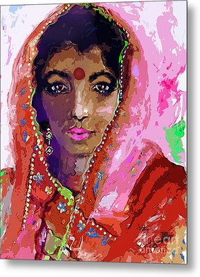 Woman With Red Bindi Indian Beauty Metal Print by Ginette Callaway